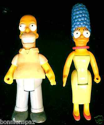 Vintage Homer & Marge Simpson Bendable Figurines, The Simpsons Collectible Set