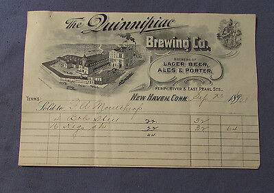 Antique 1890S Quinnipiac Brewing New Haven Ct Bill Head Lager Beer & Ales