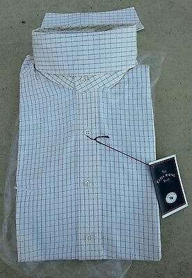 NEW ESSEX $81 Long Sleeve Ratcatcher Horse Show Shirt Cream Large Check Pattern