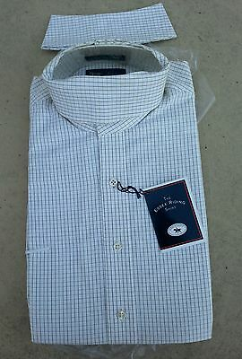 NEW ESSEX $81 Long Sleeve Ratcatcher Horse Show Shirt Cream & Brown Small Check