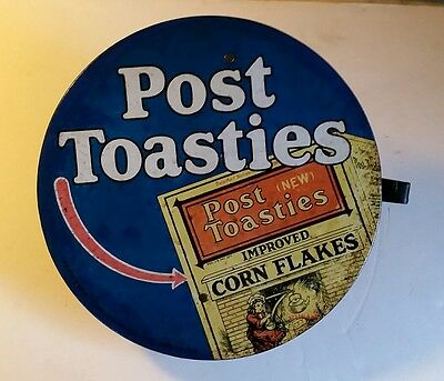 Rare 1916 Metal Post Toasties Cereal Advertising String Holder Sign 11 1/2""