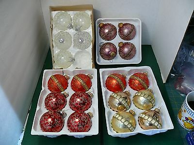 Lot of 21 West Germany Christmas Glass Ball Ornaments  with Glitter and Ribbon