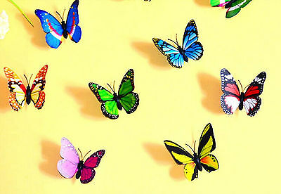 10pcs 3D Beautiful mixed colors refrigerator jewelry Small Butterfly Magnets
