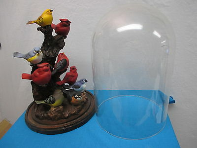 Glass Dome With 10 Ceramic Birds, Cardinals, Bluejays, Goldfinches, Robin