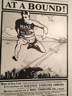 Manz Engraving Chicago iIllustration Design Ad 1900 Man Running