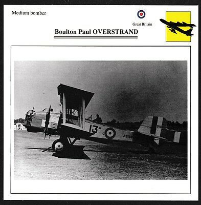 UK Boulton & Paul OVERSTRAND Bi-Plane Medium Bomber Warplane Aviation Card