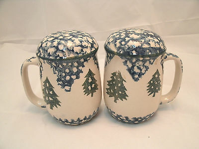 Tienshan CABIN IN THE SNOW Handled Salt Pepper Shaker Set Blue Sponge Christmas