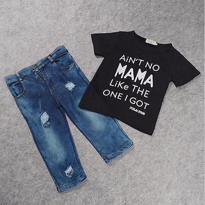 2016 Toddler Kid Infant Baby Boy Ches T-shirt Top+Denim Pant Outfit Set BK 5T