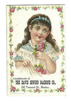 Old Trade Card Davis Sewing Machine Co Boston MA Song New England Branch