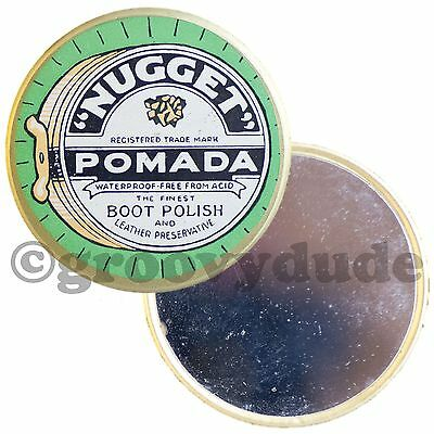 Vintage Nugget Pomada Boot Polish Advertising Celluloid Pocket Purse Hand Mirror