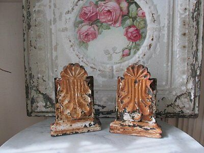 PAIR AWESOME Old CAST IRON ARCHITECTURAL FRAGMENTS ORNATE Free Standing Chippy