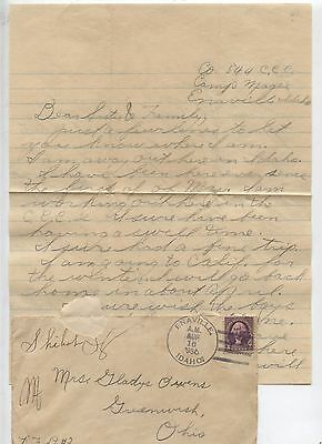 1936 Camp Magee Enaville Idaho CCC Personal Letter Civilian Conservation Corps