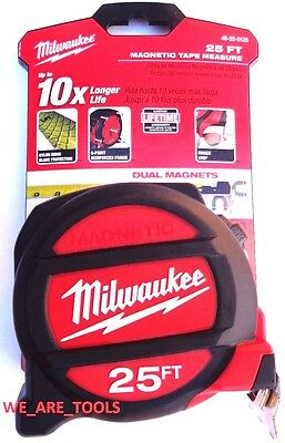 New Milwaukee 25' Heavy Duty tape Measure 48-22-5125 Magnetic 2-Sided 25ft Nylon
