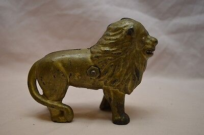 Vintage / Antique Cast iron Lion Still Coin Bank w/ Painted Face