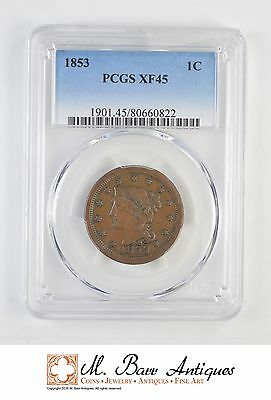 XF45 1853 Braided Hair Large Cent - Graded PCGS *1680