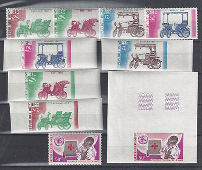 NIGER: 1975 Old Autos (Sc 323-6) and 1976 WHO/Red Cross (351) perf & imperf, MNH