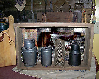 Old Primitive Sieve or sifter repurposed shelf Rusted nails original patina