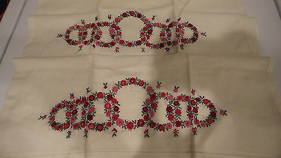 Antique Fine Cotton  PILLOWCASE PAIR Pink & Red Ornate Embroidered Flowers