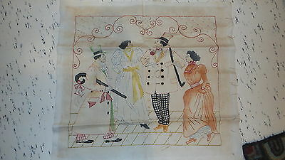 Antique Victorian Era Embroidered BLACK AMERICANA PILLOW TOP Strolling Couples
