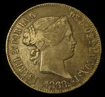1868 Spanish Philippines 50 Centimos...Sharp, Wholesome, Very Appealing Example!