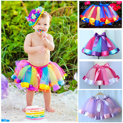 Toddler Kids Baby Girls Skirt Rainbow Tulle Tutu Party Ballet Dance Dress US