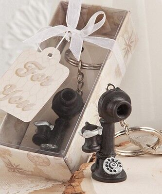 Antique Telephone Replica Key Chain Key Ring With Gift Box and Ribbon