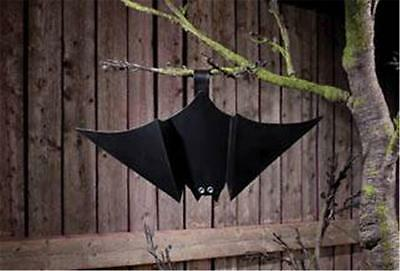 Black Tin Hanging Bat  With Jeweled Eyes for Halloween Decorating