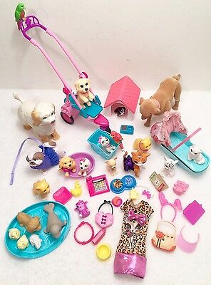 Barbie Doll PETS ANIMALS DOG CAT Stroller House Bones Bed Accessories Lot Of 45