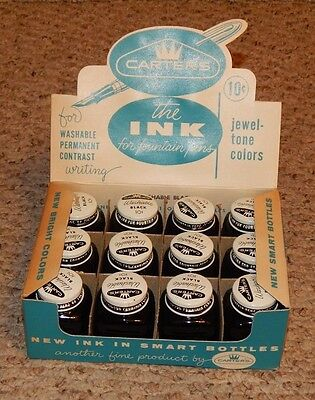 RARE box of Carters The Ink For Fountain Pens 12 Ink Bottles OLD STORE STOCK