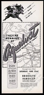 1946 Aqueduct racetrack horse race photo and map vintage print ad
