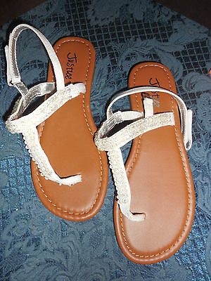 Justice Girls White Jeweled Sandals Size 3 Never Worn No Tags