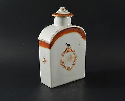 Rare Antique Chinese Export Sepia Tea Caddy American Market Original Lid C. 1795