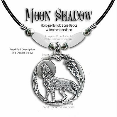 Wolf Moon Shadow Buffalo Bone Choker Necklace Wolves Western Wildlife Art #w