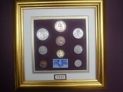 FRAMED 1947 BRITISH OLD COINAGE SET 70th BIRTHDAY GIFT IN 2017
