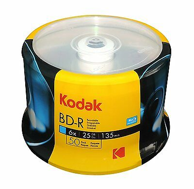 50 KODAK 6X Logo Top Blu-Ray BD-R 25GB Blank Disc CAKE BOX