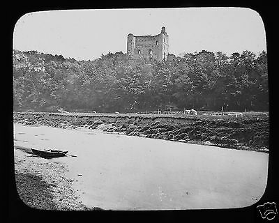 Glass Magic Lantern Slide NORHAM CASTLE FROM THE RIVER TWEED C1890  ENGLAND .