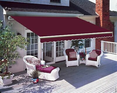3 x 2.5m Patio Manual Awning Garden Canopy Sun Shade Retractable Shelter Wine