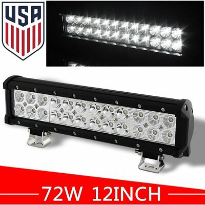 12inch 72W Cree Led Work Light Bar SUV Offroad Driving 4WD Fog Jeep Flood Beam