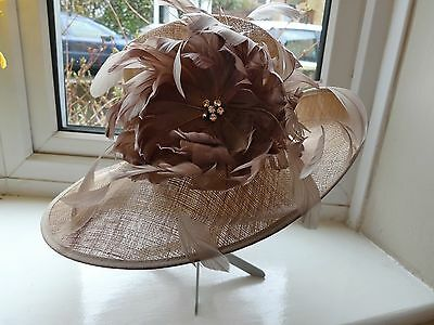Stunning Ladies Wedding / Formal Hat in Coffee Colour by Hat Box