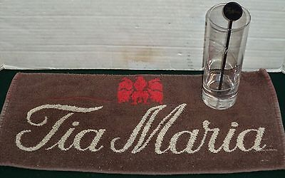 Tia Maria Liqueur Vintage Bar Towel Cloth Tall Mixer Glass & Stirrer Mancave