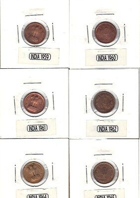 6 India I Cent Coins 1959, 60, 61, 62, 64 & 1965 Tiny Copper Coins