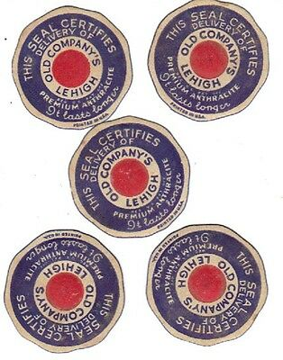 """5 COAL SCATTER TAGS or LUMP LABELS """"OLD COMPANY'S LEHIGH LABELS"""" 5 FOR $5.00 !!"""
