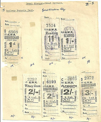 Selection/lot 1D 11D 1/- 2/- X3 3/- Gwr Prepaid Parcel Stamps Reading Witney Etc