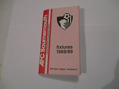 Fixture List 1988 - 89 Bournemouth.