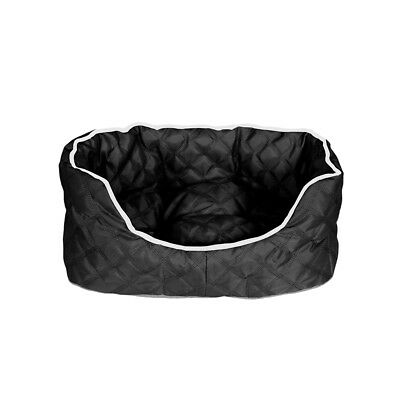 Luxury padded Dog Pet Bed with Reversible Inner Pad Black small medium large
