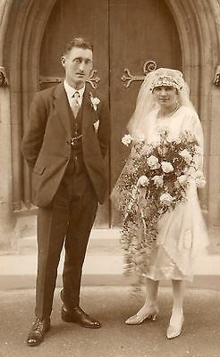 Bride & Groom 1930's Photographic Postcard. See Scan