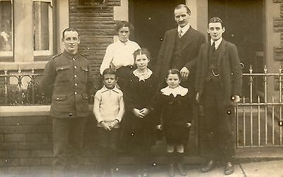 Family Group (including Soldier Children)Outside House (WW1 ) See Scan
