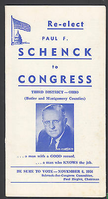 Paul Schenck Ohio Congress 1956 Campaign Booklet with Highway Miles to Dayton