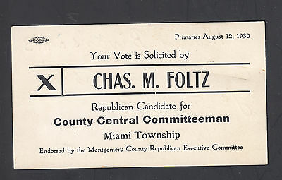 Charles Foltz Antique 1930 Vote Solicitation card County Committeeman Miami