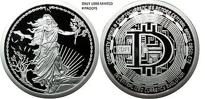 1 Oz Silver Bitcoin Proof Coin Decentralized Enemy Unknown- #rim Original Sbss